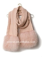 YR-137B Latest Style Yarn & Mongolia Fur Scarf~Factory direct sale~Wholesale~OEM