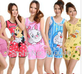 Hot selling women sleeveless cartoon spongebob mickey minnie mouse doraemon  marie cotton pajamas /homewear for women /sleepwear