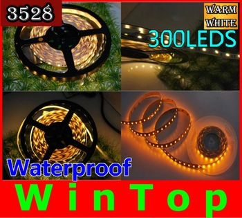5M/LOT Waterproof  flexible  led strip light IP65 5M SMD 3528 300led  5M roll car christmas holiday lights free shipping