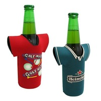 Free Shipping!Custom Imprint REAL Neoprene T-SHIRT Beer Bottle Cooler, Collapsible Bottle Koozie, Personalized Coolies