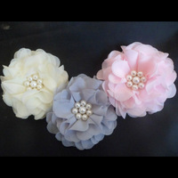 Wholesale(60pcs/lots)3'' chiffon silk flowers camellia flower hair accessories hottest hair flower Free Shipping pearl flowers