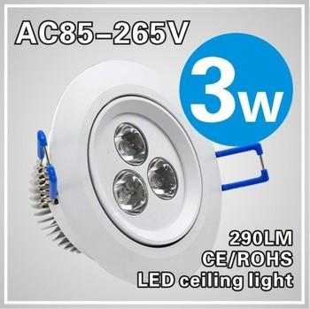 Wholse!10pcs/lot Free shipping!3W LED Ceiling Light 3*1w spot lighting downlamps,110V-260V,,fast shipping!