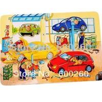Vivid funny wooden car repairing/construction plant jigsaw puzzle