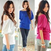 2012 New Arrival Sexy Women's Trendy OFF-Shoulder Top Cotton T-Shirt Button Decoration Blouse 3Sizes  3109