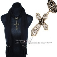 Scarf,Necklace Jewelry,Cross With Rose Pendant Design,Bronze Color Accessories,16 Colors,180*40cm,Free Shipping Wholesale