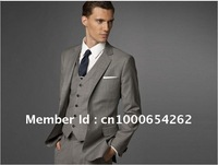 Wholesale - Men Fashion Business Suit Custom made suit Men grey Three-piece Suit ( jacket + pant + vest )