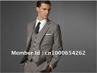 Wholesale - Men Fashion Business Suit Custom made suit Men grey Three-piece Suit ( jacket + pant + vest )