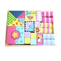 Free shipping wooden colorful build blocks DIY toy for cute baby education  #2082