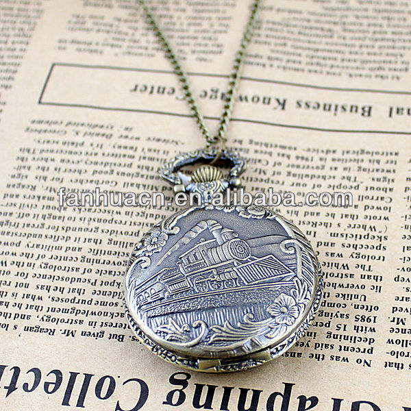 Free Shipping Charming fashion jewelry new coming flower carved train pocket watch and(China (Mainland))