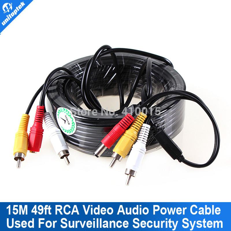 Security 15m 49ft CCTV Calbe RCA CCTV Camera Video Audio AV Power Cable(China (Mainland))