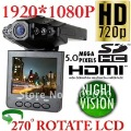 2.5inch car camera 1920*1080+ HDMI+6 IR Light+120 wide view angle+9712 lens  Free Ship