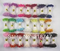 Free shipping wholesale mixed 20 colors glass pistil stamen flower stamen cake decoration 002002 (1800pcs/lot)
