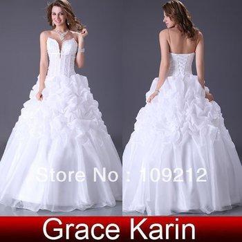 Free Shipping 1pcs/lot Grace Karin Wedding Dresses Bridal Wedding strapless A Line high-end Designer Wedding Gown CL2525