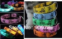New LED dog collar, 40pcs/lot Nylon webbing Flashing dog collar + 5 colors available, LED pet collar