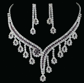 NewFree Shipping Charm Wedding Accessories Bridal Jewelry Set Fashion Bib Necklace Wedding Dresses Rhinestones Necklace+Earrings