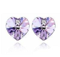 2014 Fashion Crystal Stud Earrings Heart Earrings 20pairs/lot Free Shipping