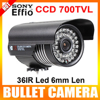"1/3"" Sony Super HAD CCD II  700TVL 36IR Leds 6mm Len Waterproof Bullet CCTV Camera With Bracket Color Black"