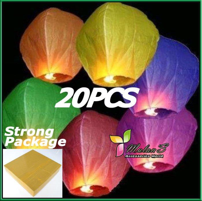 Mulan'S 20pcs Mixed Color UFO Sky Wishing Lantern Chinese Lantern Birthday Wedding Christmas Party Bubble(China (Mainland))