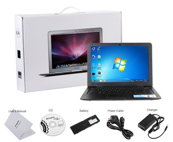 13.3 Inch Cheap Win7  Laptop with Intel Atom D25001.80Ghz +4GB ROM+500GB HDD+HDMI+1.3M Camera+Flash 11.1 supported