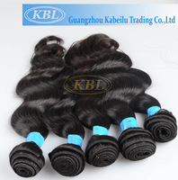 "KBL cheap 12""-26"" Machine weft good quality brazilian virgin hair extension color 1b big wave with factory price"