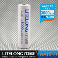 Free shipping (100 pieces/lot) LITELONG AA 1.2v 3000mah Ni-MH Rechargeable Battery Consumer Battery High Capacity