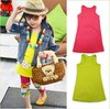 Factory outlet ! Wholesale free shipping 5pcs/lot cute dress baby girls sleeveless clothing two color for summer