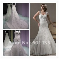 Free Shipping ! Daneileen WR1736 Bling Custom-made Real Sample Mermaid Vintage Inspired Lace Wedding Dresses