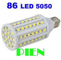 360 degree Super bright 86pcs SMD5050 15W LED Bulb E27 2400lm Corn light AC220V 230V Warm White FREE SHIPPING 5pcs/lot