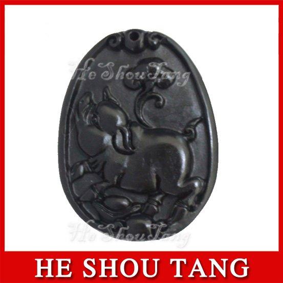 Free shipping Energy healing pendant/ Magic Health Black Stone Needle/ Pig Pattern/ Eliminate toxin, beautify skin, delay ageing(China (Mainland))