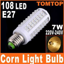 Cold White 7W 220V E27 LED Corn bulb Light with 108 led 360 degree Spotlight 6000-6500K Free shipping 2pcs/lot(China (Mainland))