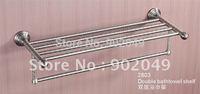 Chrome Plating Brass High Quality Eco-friendly Double Bathtowel Shelf Bathroom Enclosure Free Shipping KG-2803