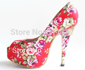 big size eur 32-43 platform pumps new 2013 red bottom high heels wedding shoes woman flowers print open toe sandals SXX02010