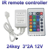 Hot Sale 24 key RGB  remote IR controller DC12V 3*2A 72w for 5050 3528 led strips , Free shipping