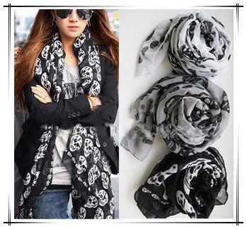 Cool Big Skull Cotton Womens Long Scarf Shawl Fashion  Free shipping W4114