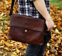 Free shipping , Genuine Leather Fashion men's brifecase,handsome shoulder/Messenger bag ,men handbag,Zipper,dark/light coffee