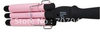 Size :19mm very fashion and hotsale Wholsale Pink color hair  Curling Iron Three Barrel 110-220V +Free Shipping