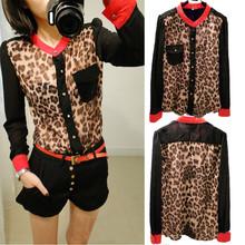 Hot Sale shirt women clothing 2015 New Fashion women blouse Chiffon Blouse Long Sleeve pocket Leopard patchwork shirt J2333(China (Mainland))