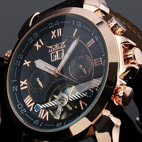 JARAGAR Luxury Auto Mechanical Watches 4 Hands Date Tourbillon Mens Wrist Watch Free Ship Gift Box(China (Mainland))