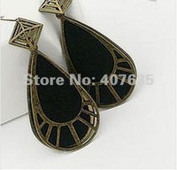 Free shipping!Wholesale100pair/lot,8.2*3.3cm,2colors,Classical hollow out water drop earrings,Black eardrop!