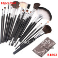 18 pcs/set makeup brush set professional makeup tools with silver leather bag,Free Shipping ,Dropshipping