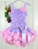 2014 Baby Petti Tutu Dress For Girl Purple Lace Party Dress With Bowknot Age Baby:1-6Y Chiffon+Cotton Sample Support 5 sets/lot