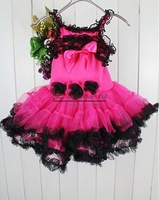 2014 Baby Girl Braces Dress Lace Red Party Dress With Shoulder-Straps Black Flowers 3 Floors Age Baby:1-6Y Ready Stock