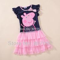 Free Shipping NWT Girls Baby2T,3T,4T,5T,6T Peppa Pig George Pig cartoon Costume Dress GS153