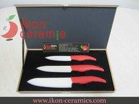 """Free Shipping! High Quality New 100% Zirconia 4"""",5"""",6"""" 3-piece (Red) Ikon Ceramic Knife set(AJ-TZ3W-AR)"""