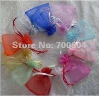 Free shipping 100pcs/lot 6x6cm color jewelry organza gift bag wedding favor organza pouch 3mm wide ribbon drawstring