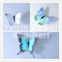 12pcs 3D Wall Sticker Butterfly Home Decor Art Decorations Butterflies Refrigerator fridge Magnet Stickers girls room Blue-Serie
