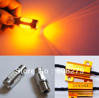 2pcs/Pair Bau15s 581 PY21W  High Power Car Turn Signal Bulb 7.5W Yellow+ 25 watt Resistor Canbus