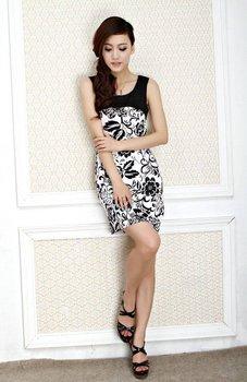 Nueva llegada 2014 mujeres de la manera vestido más el tamaño 5XL vestido del tanque de la novedad de la flor de impresión sin mangas de algodón de alta calidad