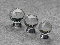 Modern Fashion K9 Clear Crystal Glass Chrome Cabinet Knobs New (Diameter: 35MM)