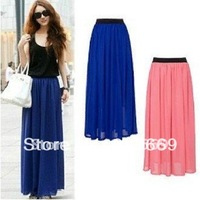 Black/blue/red/pink/khaki/green chiffon lady long maxi skirts womens/women summer 2013 high elastic waist S5211